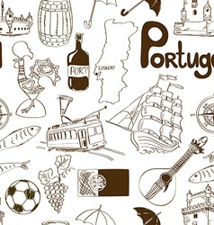 Sketch Portugal seamless pattern vector image