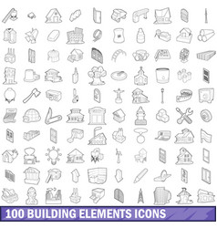 100 building element icons set outline style vector image