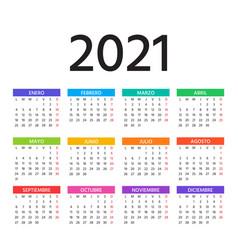 2021 spanish calendar template layout year vector