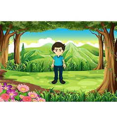 A young gentleman at the forest vector image