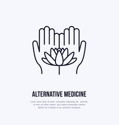 alternative medicine flat line icon logo vector image