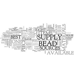 Bead supply text word cloud concept vector
