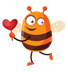 Bee holding a little heart on white background vector