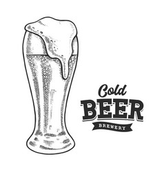 beer retro emblem black and white vector image