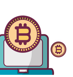 Bitcoin with computer vector