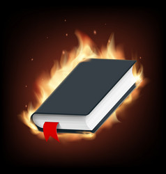 black book with a blank cover on fire vector image