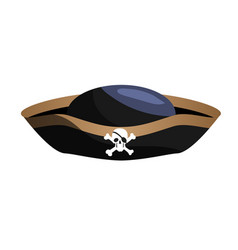 black pirate hat isolated on white background vector image