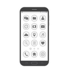 black smartphone elegant thin line style design vector image