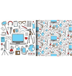 Blog objects set and seamless pattern vector
