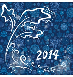 Blue christmas card 2014 vector image