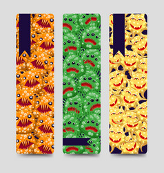 bookmarks set with colorful monsters vector image
