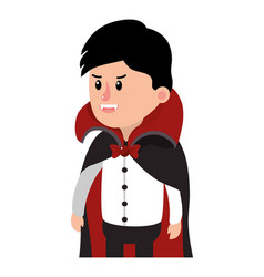 Boy with vampire costume and cap with teeth vector