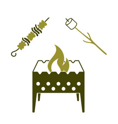Brazier zephyr and kebab icon vector