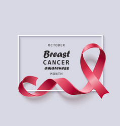 breast cancer awareness banner with realistic pink vector image