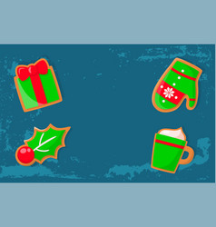 bright green design icons gingerbread vector image