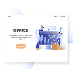 Business office website landing page design vector