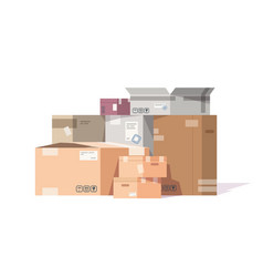 cardboard boxes stack carton parcels and delivery vector image