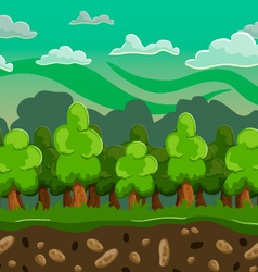 cartoon forest seamless horizontal landscape vector image