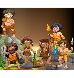 Cave people living in the cave vector