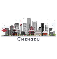 Chengdu china skyline with gray buildings vector