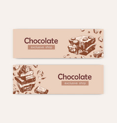 chocolate exclusive shop banner templates vector image