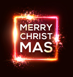 christmas background square neon light xmas frame vector image