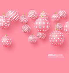 christmas pink baubles with geometric pattern 3d vector image
