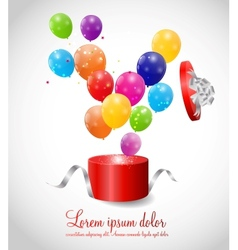 Color Glossy Balloons in Gift Box Background vector image