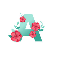 Color letter a with beautiful flowers vector