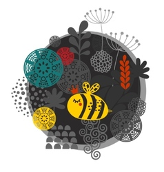 Colorful label with bee and flowers vector image
