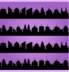 comic cityscapes seamless pattern vector image