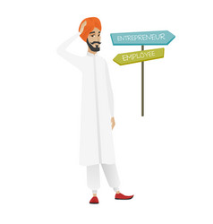 Confused hindu man choosing career pathway vector