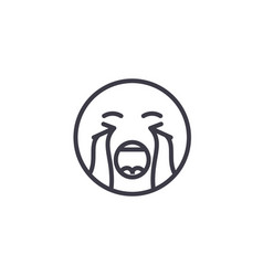 crying emoji concept line editable concept vector image
