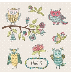 Cute cartoon owls flowers brunche vector