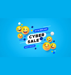 Cyber sale template 3d yellow smiley face banner vector