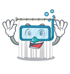 Diving shower curtains in the character bathrooms vector