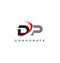dp modern letter logo design with swoosh vector image