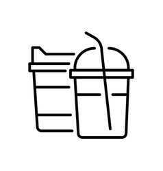 fast food drinks in plastic closed cups with straw vector image