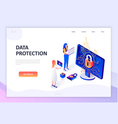 flat design isometric concept data protection vector image