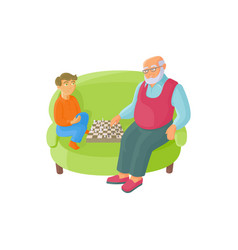 Flat grandfather and grandson playing chess vector