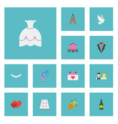Flat icons pigeon patisserie jewelry and other vector