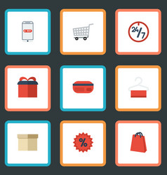 flat icons present percentage trolley and other vector image
