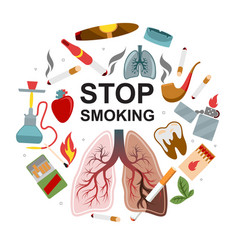 Flat no smoking round concept vector