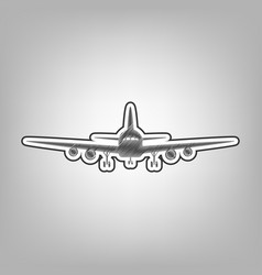 Flying plane sign front view pencil vector