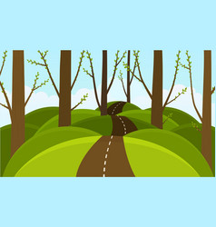 forest on the background hills spring blooming vector image