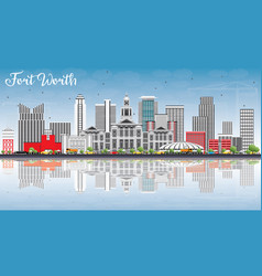 Fort worth skyline with gray buildings blue sky vector