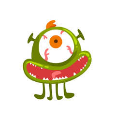 funny one eyed green monster colorful fabulous vector image