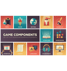 Game components - modern flat design icons vector