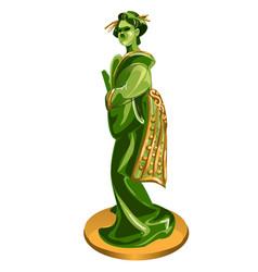 geisha figurine made jade isolated on white vector image