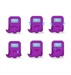 Ghost among us purple cartoon character with sad vector
